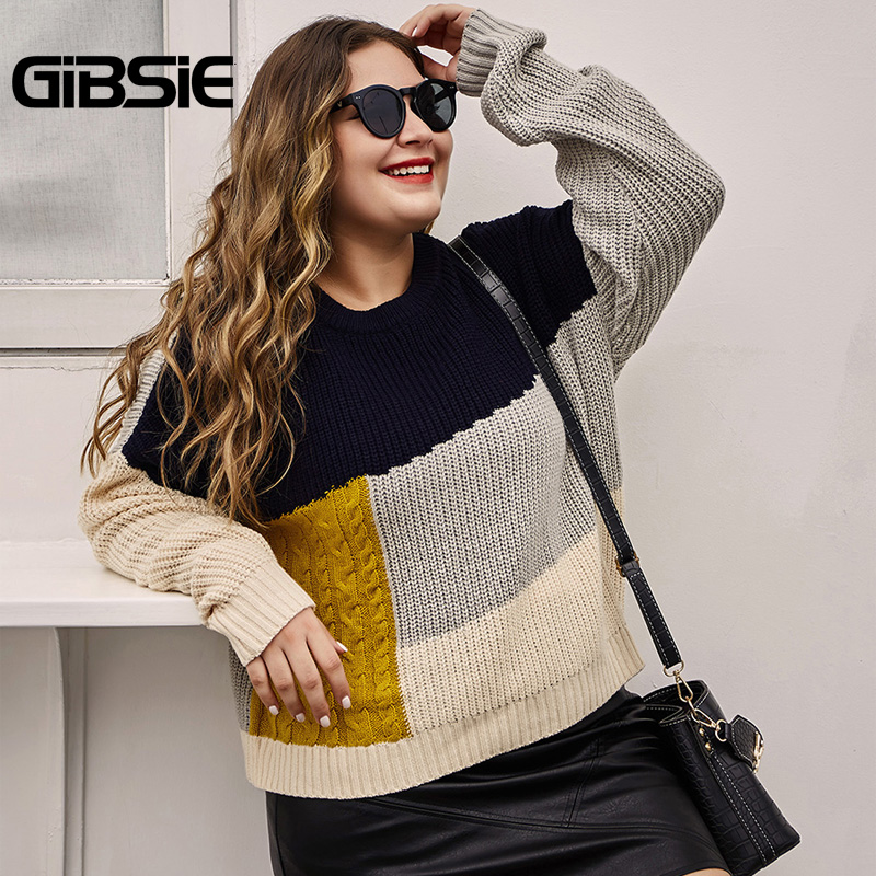 GIBSIE Autumn Winter Color Block Women Knitted Sweater Pullovers Plus Size O-Neck Long Sleeve Casual Female Sweaters Jumper