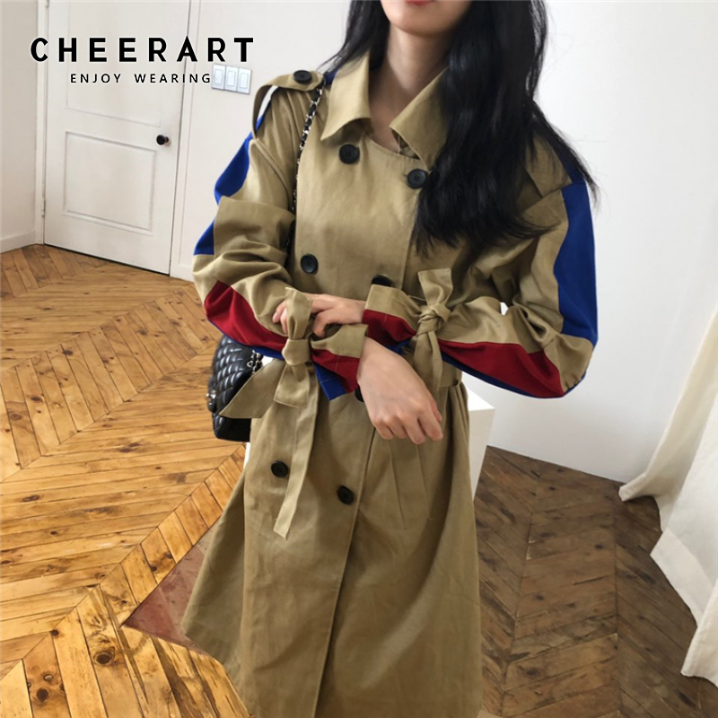 CHEERART Color Block Trench Coat Women Streetwear Camel Belt Pocket Coat Trench Duster Coat Autumn Fashion 2019