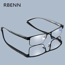 RBENN Anti Blue Light Computer Reading Glasses Men with CR-39 Lens Green Cover Blue Light Metal Frame Eyeglasses +0 1.75 2.25