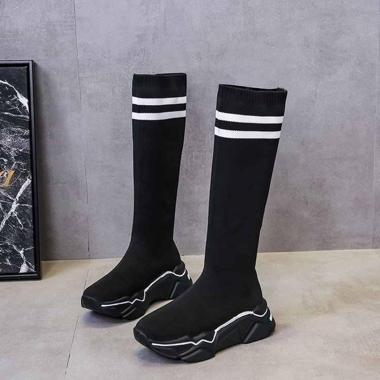 2020 yeni Platform diz yüksek çorap botları kadın kış ayakkabı moda örme ince kaymaz kalın tabanlı uzun çizmeler kadın