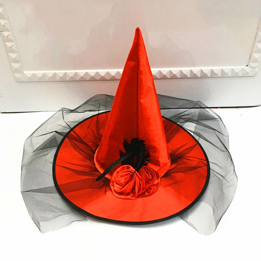 Party Hats For Women Halloween Party DIY Cosplay Costume Props Hats Mesh Witch Hat With Artificial Rose Flower Halloween Decor