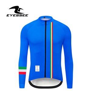 Image 3 - Italië Wielertrui Eyessee Mannen Fit Lichtgewicht Lange Mouw Wielershirts 5 Kleuren Racefiets Mtb Race Fiets Kleding