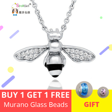 Купить с кэшбэком Lovely Bee Animal Necklaces & Pendants Charm Necklace 925 Sterling Silver for Women Jewelry Accessories Selling Cute Bee Chain