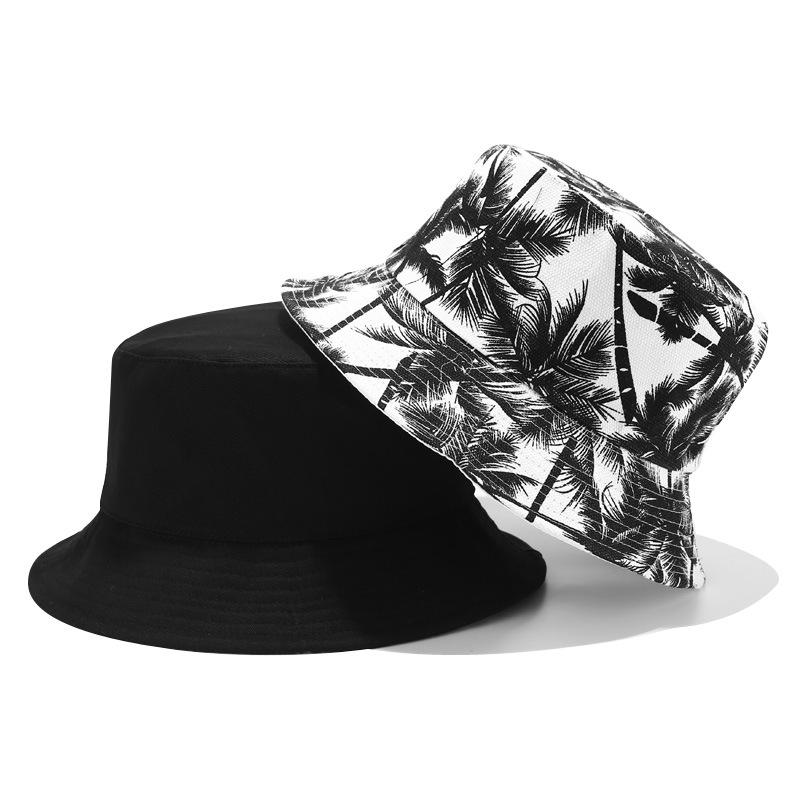 Unisex Panama Coconut Canvas Bucket Hats Black Printed Plant Double-sided Wearable Basin Caps Outdoor Travel Visor Hiking Hat