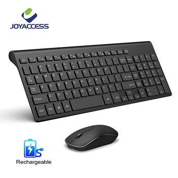 2.4G Rechargeable Wireless Keyboard and Mouse Thin Keyboard Mouse Combo Set For Notebook Laptop Mac Desktop PC TV Office Supplie topmate keyboard and mouse pack 2 4 ghz wireless keyboard and mouse pack qwerty for ipad macbook laptop tv spanish black
