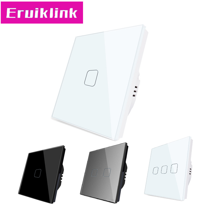 EU/UK Standard Light Switch,1/2/3 Gang 1 Way Crystal Glass AC110V~220V Wall Touch Switch Can't Be Remote Controlled