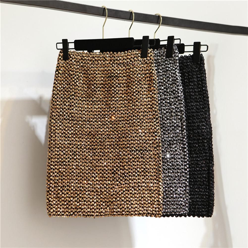 Sexy Womens Skirts Sequined Mini Skirt Bodycon Pencil Skirt Short Wrap Autumn Winter Female Skirt For Office Lady Party Girl