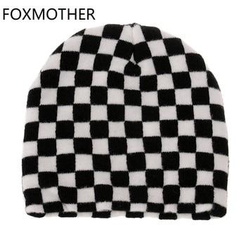FOXMOTHER-gorro a cuadros para hombre y mujer, estilo Hip Hop, invierno, blanco y negro, 2020