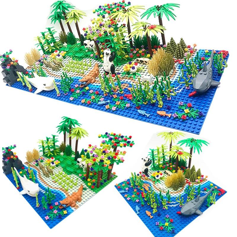 Модель дождевых лесов, городской куст, цветок, трава, дерево с животными, базовая пластина, «сделай сам», детали MOC, совместимые строительные ...