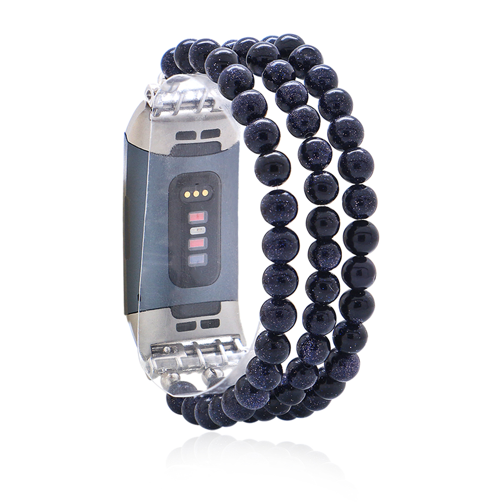 Blue Natural Stone Elastic Watchband For Fitbit Charge 3/4 Handmade Watch Strap For Unisex Smart Watch Bracelet Wristband