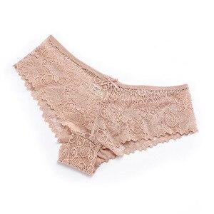 Image 4 - 3 יח\חבילה פרחוני תחתונים סקסיים לנשים של תחתוני רוקנו תחרה תחתוני קשת נמוך עלייה שקוף הלבשה תחתונה 3Xl בתוספת גודל נקבה