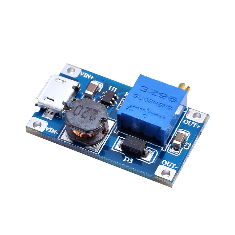 5pcs/lot MT3608 DC-DC Adjustable Boost Module 2A Boost Step Up Module with MICRO USB 2V - 24V to 5V 9V 12V 28V LM2577