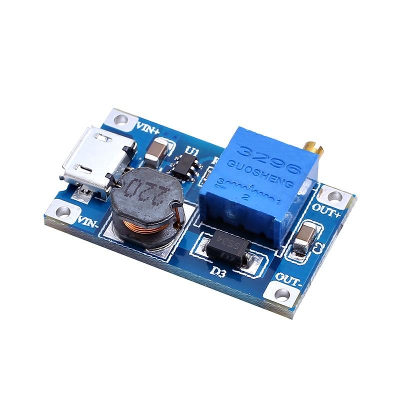 5pcs/lot MT3608 DC-DC Adjustable Boost Module 2A Boost Step Up Module with MICRO USB 2V - 24V to 5V 9V 12V 28V LM2577