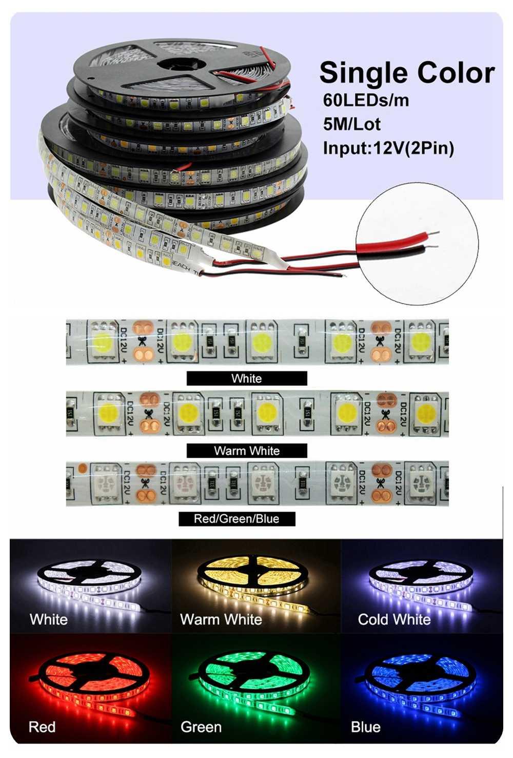 Taśma Led 5050 światła RGB DC12V elastyczne oświetlenie do dekoracji domu wodoodporna taśma Led RGB/biały/ciepły biały/niebieski/zielony/czerwony