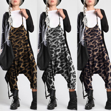 Printed Overalls Rompers Playsuits Plus-Size Suspender Zanzea Pants Backless Leopard