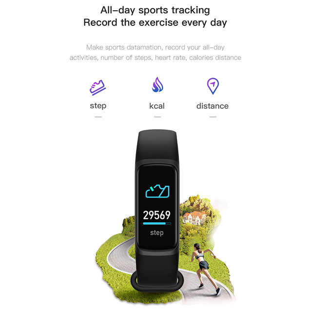 Fitness Bracele Waterproof Sport Fitness Tracker Blood Pressure Heart Rate Pedometer Smart Band Watch For Android IOS 4