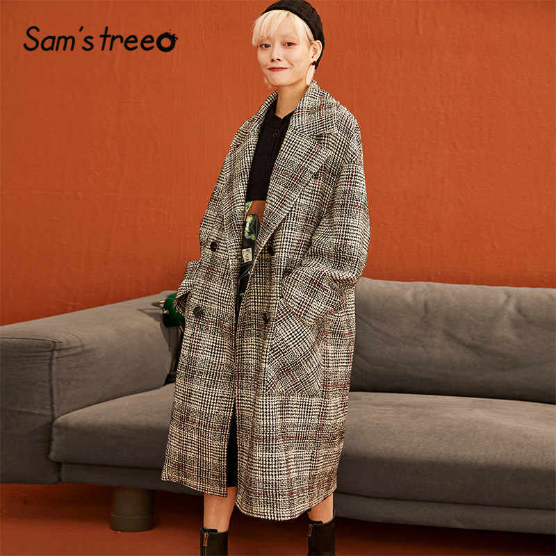 SAM'S TREE Plaid Double Breasted Brit Graphics Women Wool Coats 2019 Winter Straight Long Sleeve Casual Oversived Female Outwear