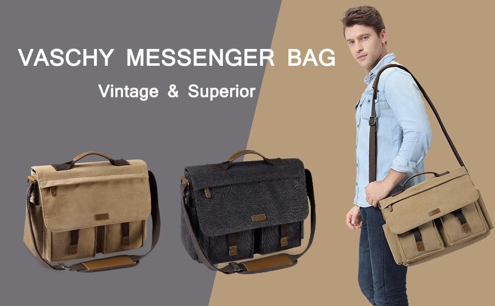 H5d59529ecaee479cbf13258e40ab6d26E VASCHY Messenger Bag for Men Vintage Water Resistant Waxed Canvas 15.6 inch Laptop Briefcase Padded Shoulder Bag for Men Women