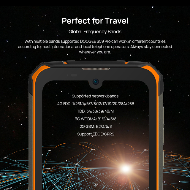 DOOGEE S59 Pro smartphone 10050mAh Super Battery IP68/IP69K 4+128GB NFC Rugged Smart phone 2W Loud Volume Speaker 5
