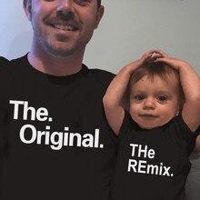 O original e o remix algodão família combinando roupas, pai, crianças, bebê, menino, camiseta bestfriend, body, camisetas