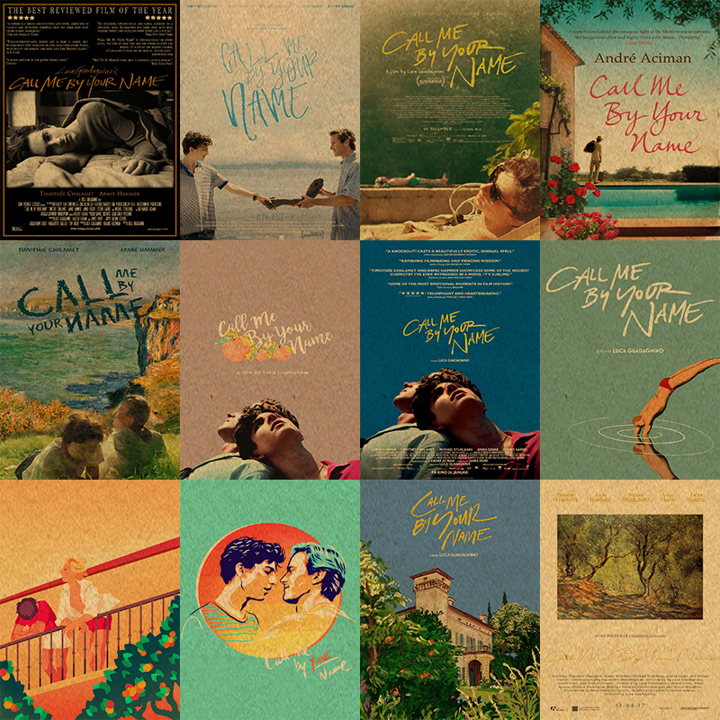 Call Me By Your Name Movie Poster Kraft Paper Print Retro Style Home Decor Wall Art Painting Wall Sticker
