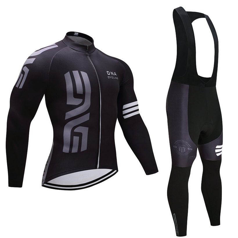 Winter TEAM Black DNA cycling jersey 20D Pad bike pants suit Ropa Ciclismo Thermal fleece bicycling wear Maillot Bottoms