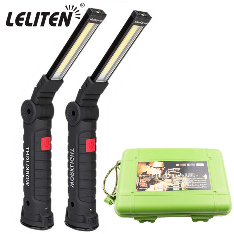 USB Rechargeable With Built-in Battery Set Multi Function Folding Work Light COB LED Camping Torch Flashlight