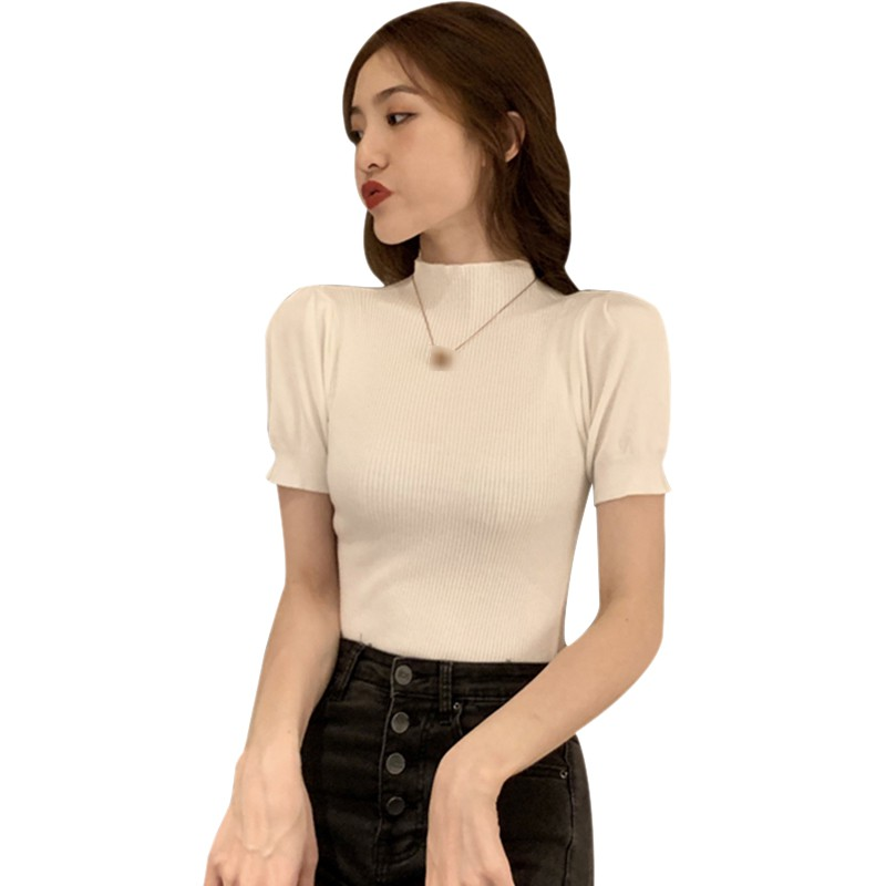 Women Slim Puff Sleeve Knitted T-Shirt Short Sleeve Solid Color Sexy Ladies Summer Tee Shirt Tops 1