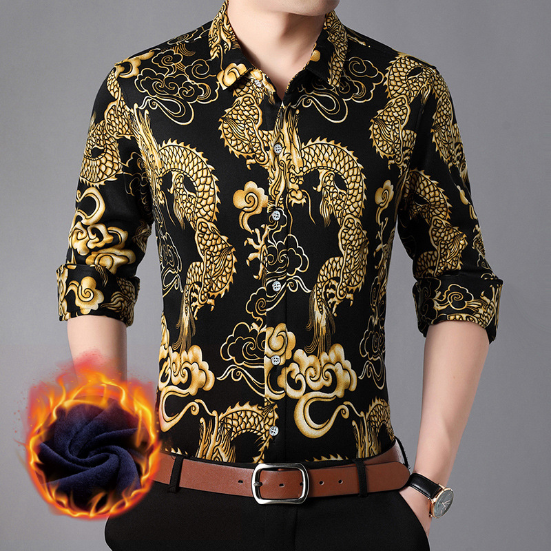 2018 Winter New Style Men Dragon Printed Brushed And Thick Slim Fit Long-sleeved Shirt Men'S Wear Warm Base Shirt