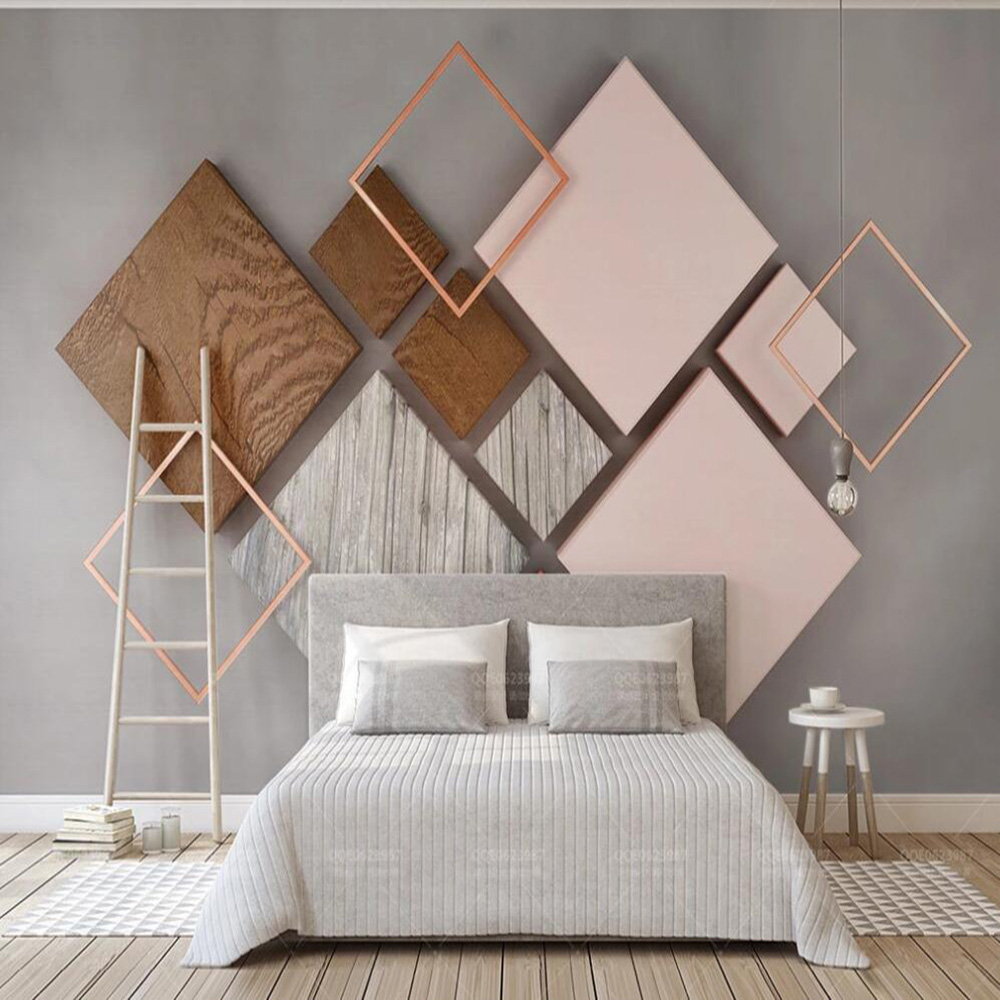 Dropship Custom 3D Wallpaper Mural 3d Geometric Quadrilateral Wood Grain Modern Nordic Living Room Background Wall Paper Mural
