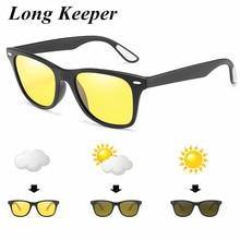 2019 Hot Sale Classic Photochromic HD Polarized Sunglasses Women Men Oval Black Frame Sports Sun Glasses UV400 Driving Goggles