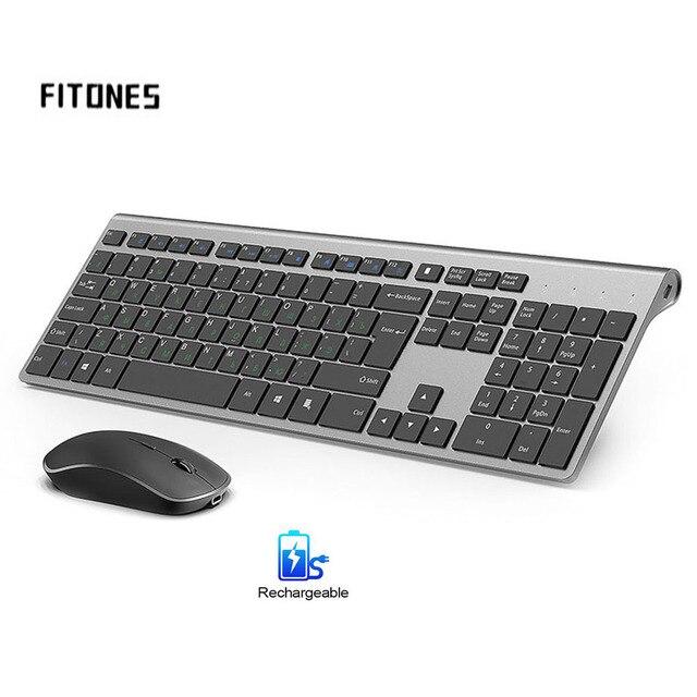 Tastiera e mouse senza fili, 2.4 gigahertz stabile connessione batteria ricaricabile, Full size il layout Russo, nero grigio Argento bianco