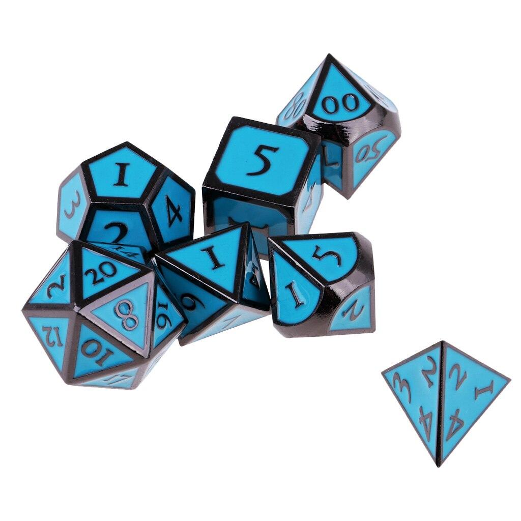 7 Pieces set Mini Polyhedral dice Set Blue D4 D6 D8 D10 D12 D20 D&D RPG