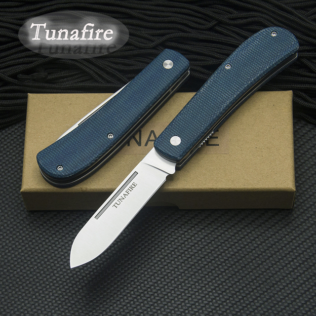 New  TUNAFIRE Outdoor Knife 440C multifunctional tool linen fiber handle portable outdoor camping Fishing Folding Pocket knive 1