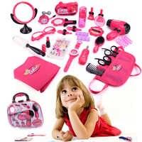 Girls Make Up Toy Set Pretend Play Toys Simulation Pretend Makeup Bag Beauty Hair Salon Tools Kit Children Princess Toys