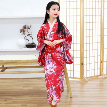 Print Flower Children Japanese Traditional Evening Party Prom Dress Performace Clothing Kimono Bathrobe Gown Full Sleeve Gown цена 2017