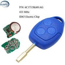 3 кнопки дистанционный ключ брелок 433 МГц ID63 Электрический чип для Ford Transit WM VM 2006-2014 P/N: 6C1T15K601AG FO21 лезвие
