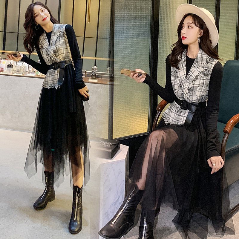 Graceful Black And White With Pattern Dress Children 2019 New Style Autumn Fashion Woolen Comfortable Mesh Skirt Two-Piece Set W