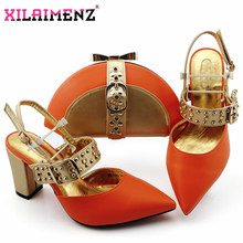 Gold Elegant African Women Shoes And Bag To Match Set Italian Comfortable in Heels for Party Shoes And Bag Set For Wedding Dress