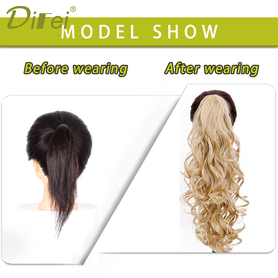 ALI shop ...  ... 32887242836 ... 3 ... DIFEI Synthetic Women Claw on Ponytail Clip in Hair Extensions Wavy Curly Style Pony Tail Hairpiece Black Brown Blonde Hairstyle ...