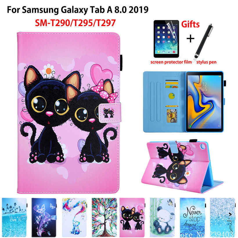 Fashion Cat Case For samsung galaxy tab A 8.0 2019 SM-T290 SM-T295 T295 T297 Cover Funda Tablet Stand Capa Shell +Gift