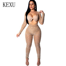 цена на KEXU Sexy Sheer Mesh Sequin Jumpsuits Bright Diamond Open Back Open Chest Long Sleeves on Both Sides Wearing Romper Overalls