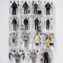 NECA 액션 피규어 제 13 회 금요일 Jason Freddy Krueger Leatherface 전기 톱 John Michael Myers IT Joker Pennywise 액션 피규어(China)