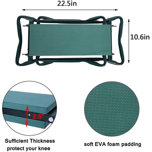 Garden Kneeler and Seat Folding Stainless Steel Garden Stool with Tool Bag EVA Kneeling Pad Gardening Gifts Supply 6