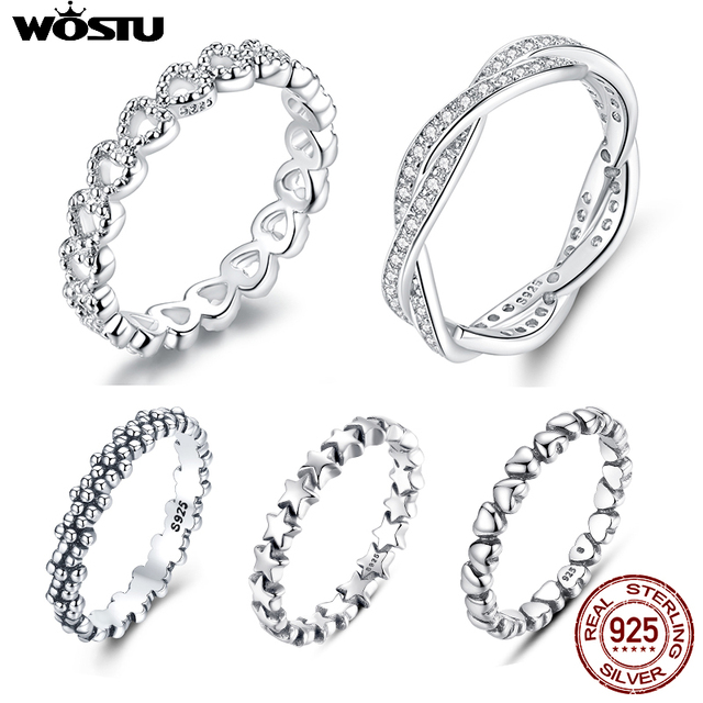 WOSTU Hot Sale 100% 925 Sterling Silver Styles Stackable Ring Party Finger Wedding Rings For Women Original Fashion Jewelry Gift 1