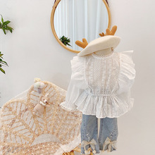 2021 Girls' Shirts Fashion Long-sleeved Blouse White Shirts Spring and Autumn Clothes Baby Girls Blouse Girl Tops