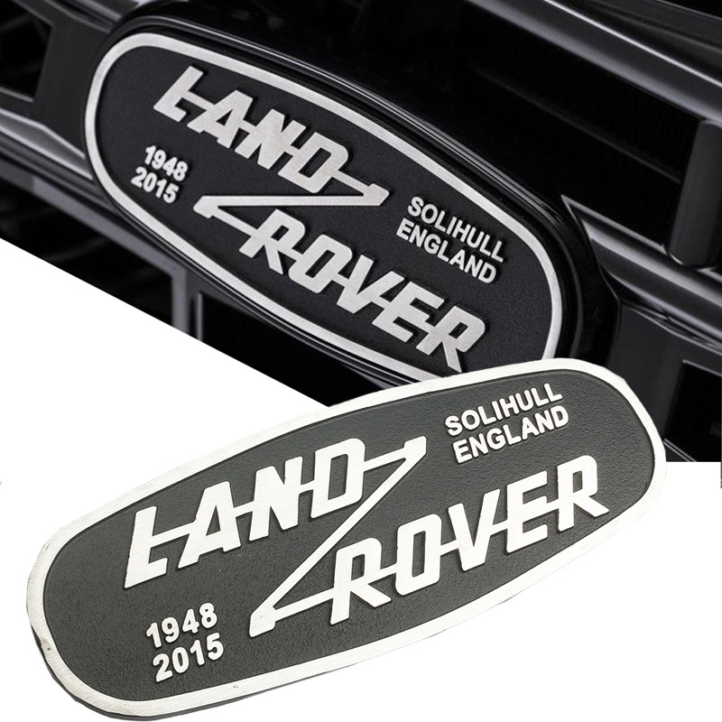 14 5 5 5cm Aluminum Car Front Grille Emblem for Land Rover SOLIHULL ENGLAND Logo Defender 2015 Rear Trunk Badge Decoration