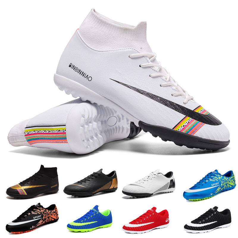 US $19.87 39% OFF|Football Soccer Boots Men Athletic Futsal Soccer Shoes 2019 High Top Soccer Cleats Training Football Sneakers Man Kids Cleats|Soccer