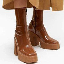 designer autumn winter brand elastic microfiber leather shoes woman ankle boots high heels black brown thick platform long boots