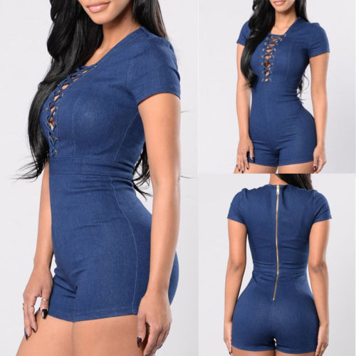 Women Bodycon Tunic Short Sleeve Denim Jeans Romper Playsuit Short Trousers Hollow Out Bodysuits Solid Sexy Club Jumpsuit